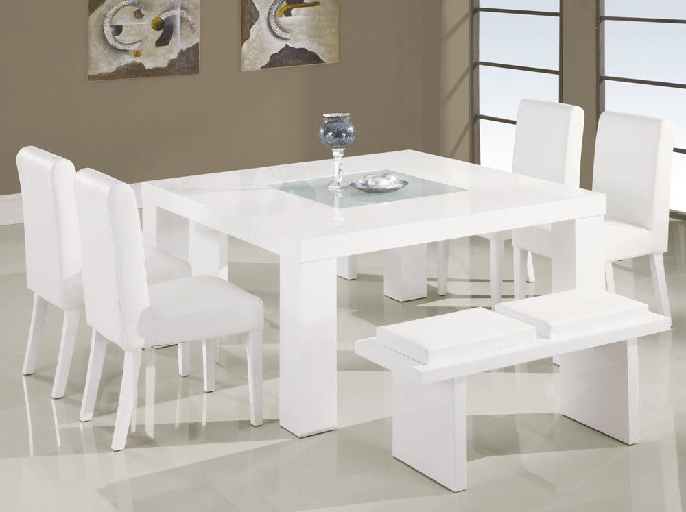 Clean White Bench And Chairs Around Small Dining Tables On Grey Tile Flooring