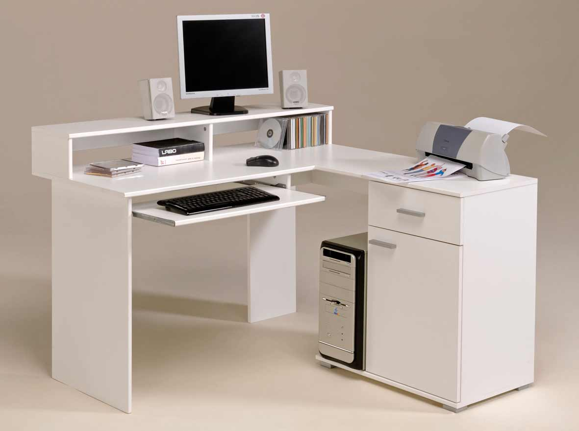 Clean White Desk with Drawers and Document Cabinets Used in Corner Home Office Area