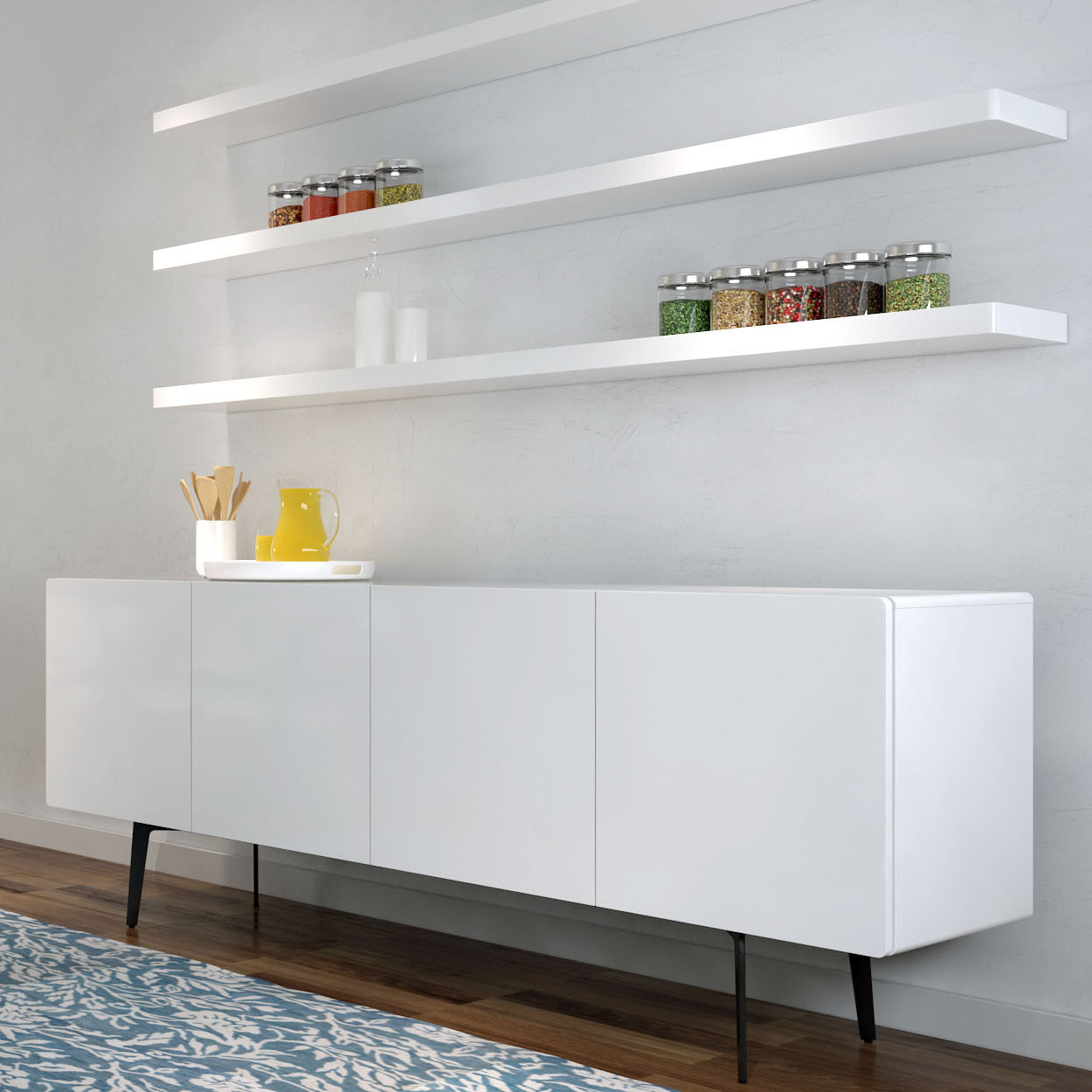 Tips to decorate a room with white floating shelves for Long kitchen wall units