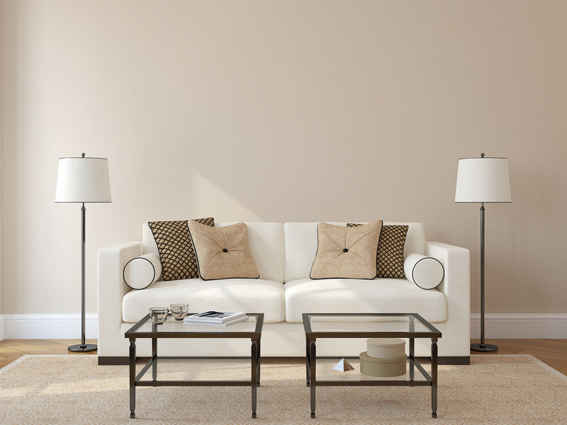 Clean White Sofa And Glass Top Tables Near Classic Living Room Lamps On Oak  Flooring Amazing Ideas