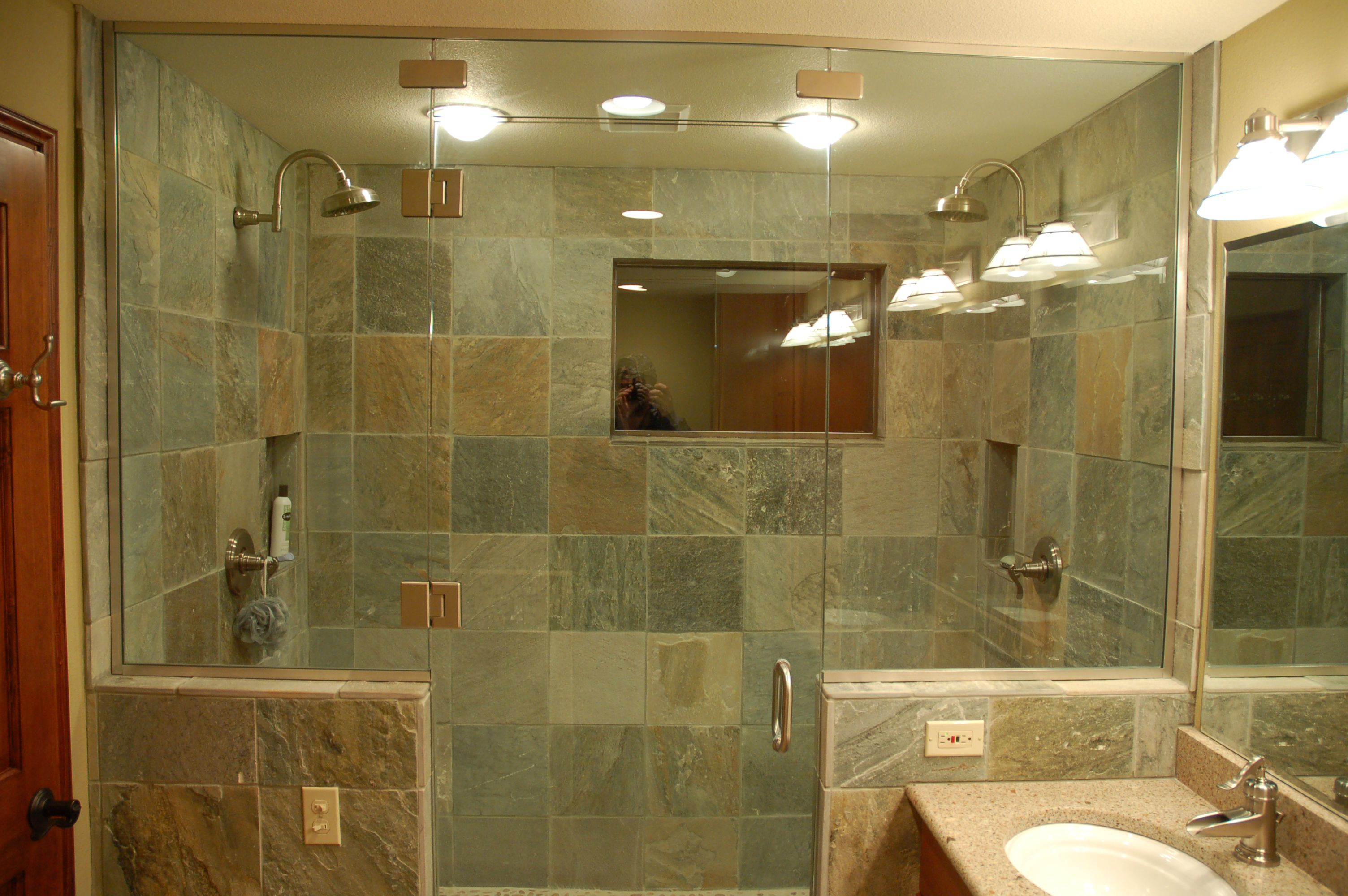Clear Glass Door and Wall Completing Old Fashioned Shower Space using Stone Tile Shower Ideas