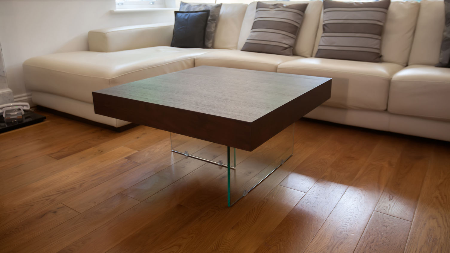 Clear Glass Legs and Solid Oak Top for Small Coffee Table inside Simple Living Room