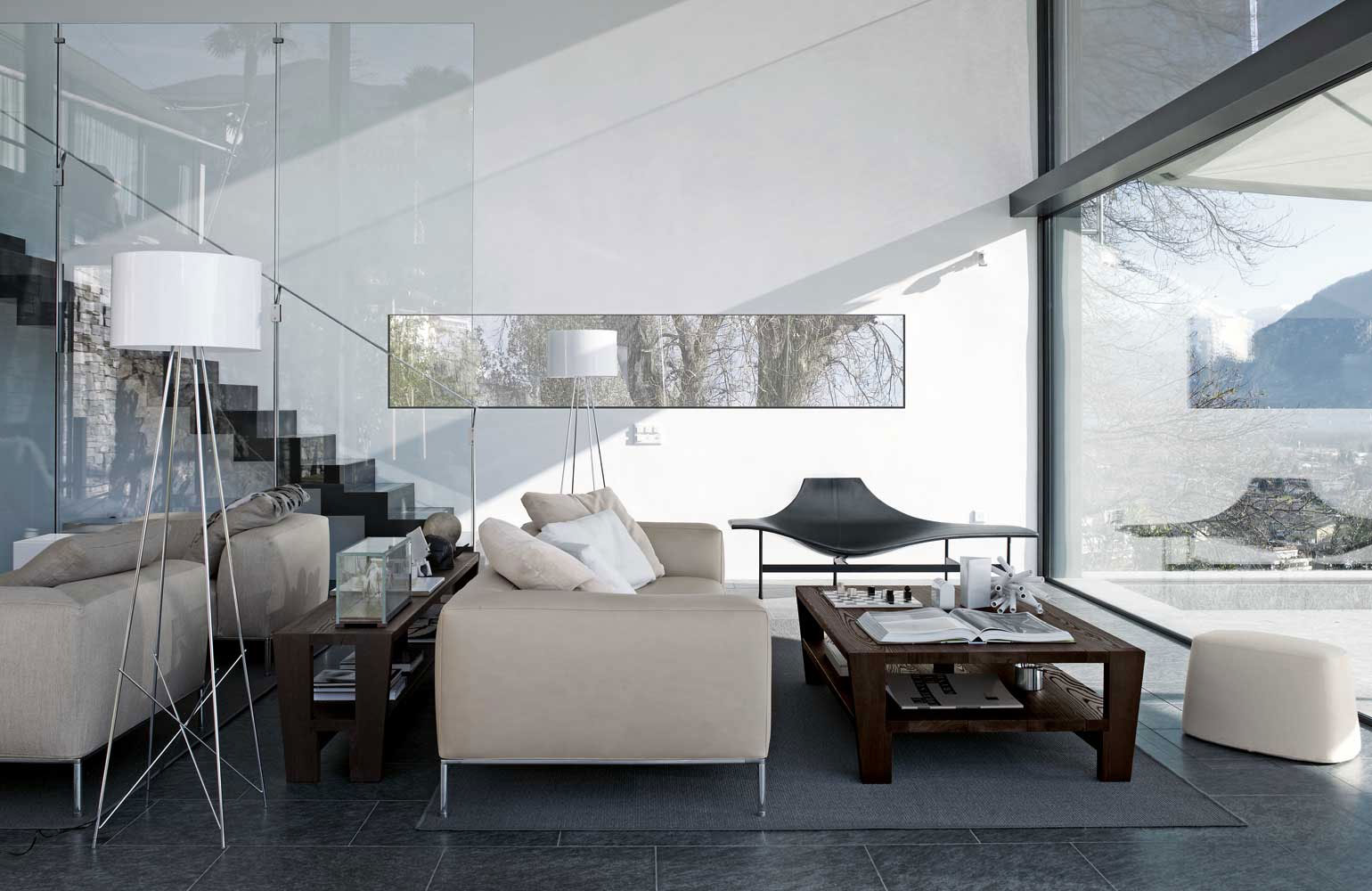 Clear Glass Panels beside Modern Sitting Room with Oak Coffee Table and White Shaded Living Room Lamps