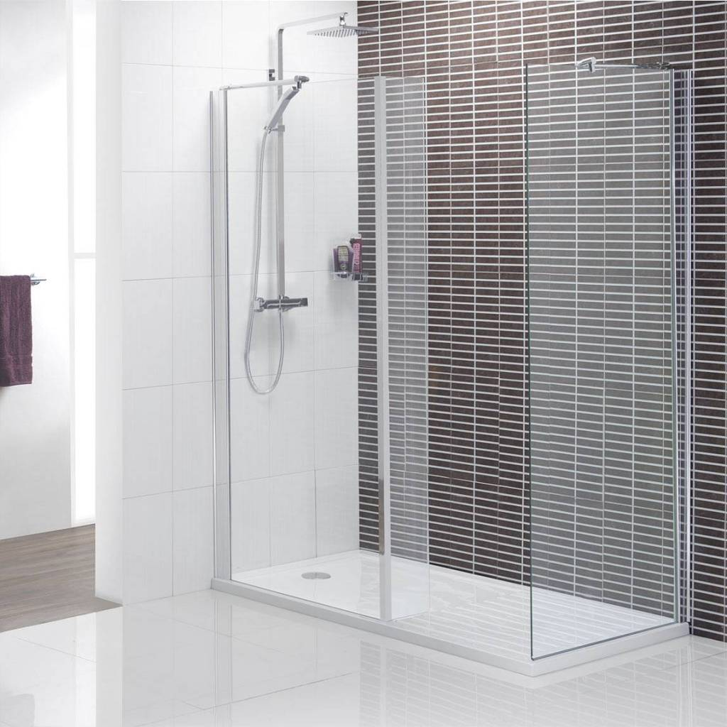 Clear Glass Wall and Door Completing Modern Walk in Shower Ideas with White Flooring inside Wide Bathroom