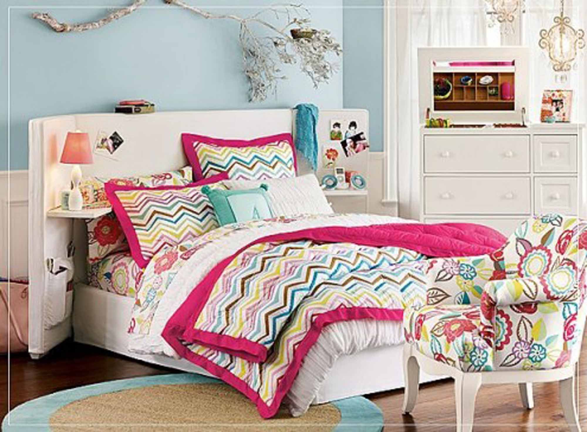 Colorful Bedding on White Bed inside Cute Room Ideas with Classic White Dresser and Cozy Chair