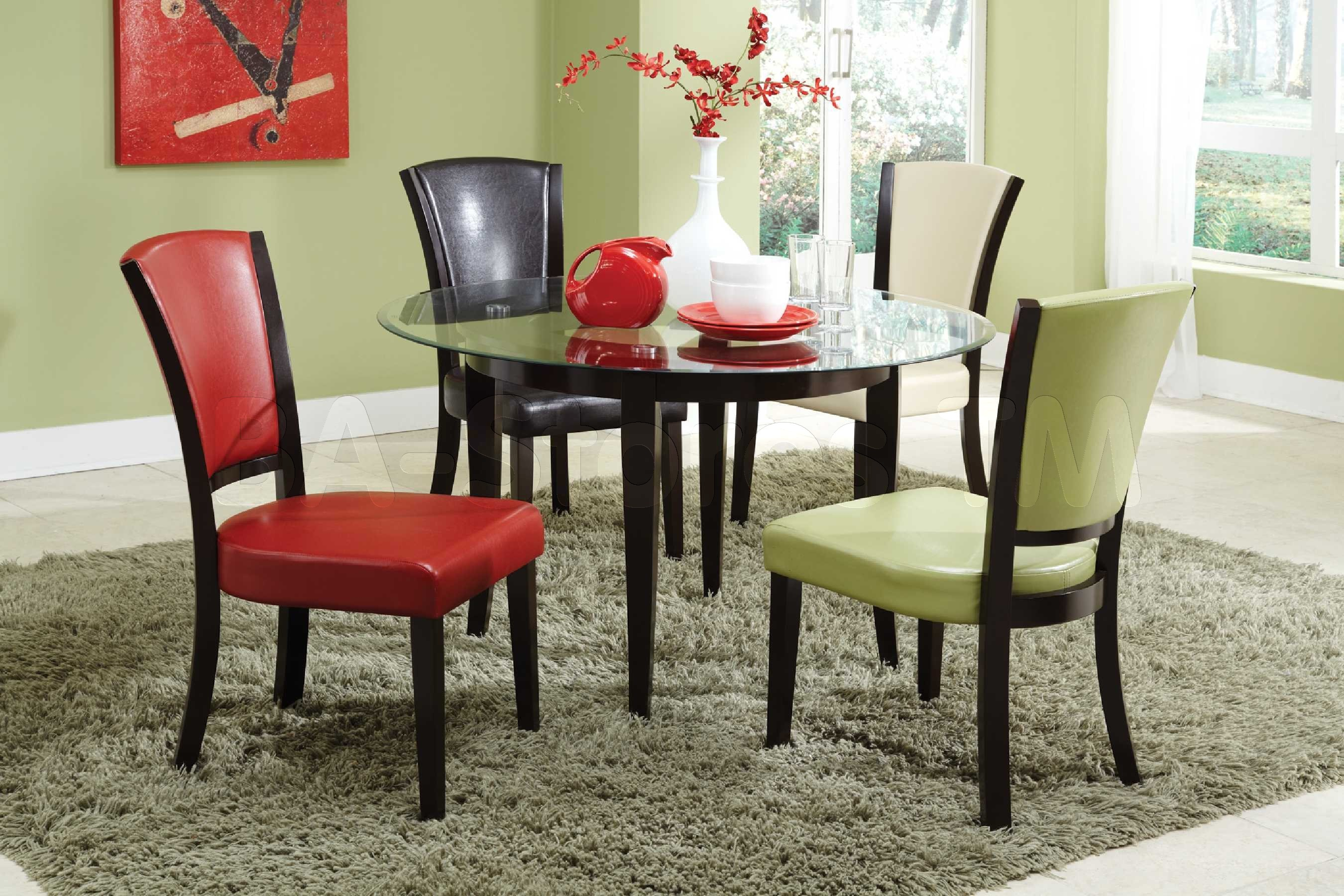 Colorful Chairs From Glass Dining Table Set Inside Open Dining Area With  Grey Carpet Rug
