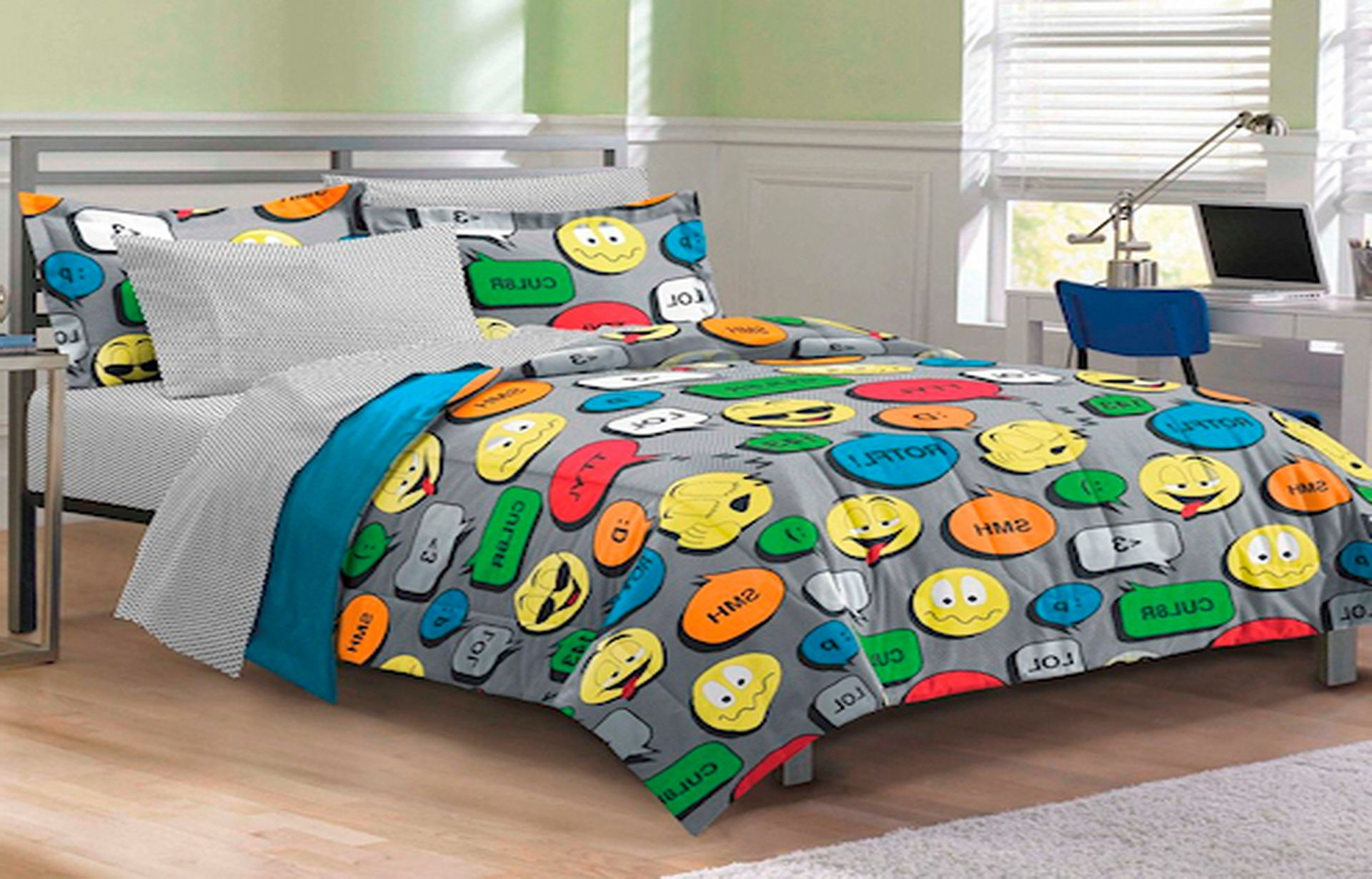 Colorful Details on Grey Teen Boy Bedding Decorating Simple Bed in Minimalist Bedroom with Hardwood Flooring