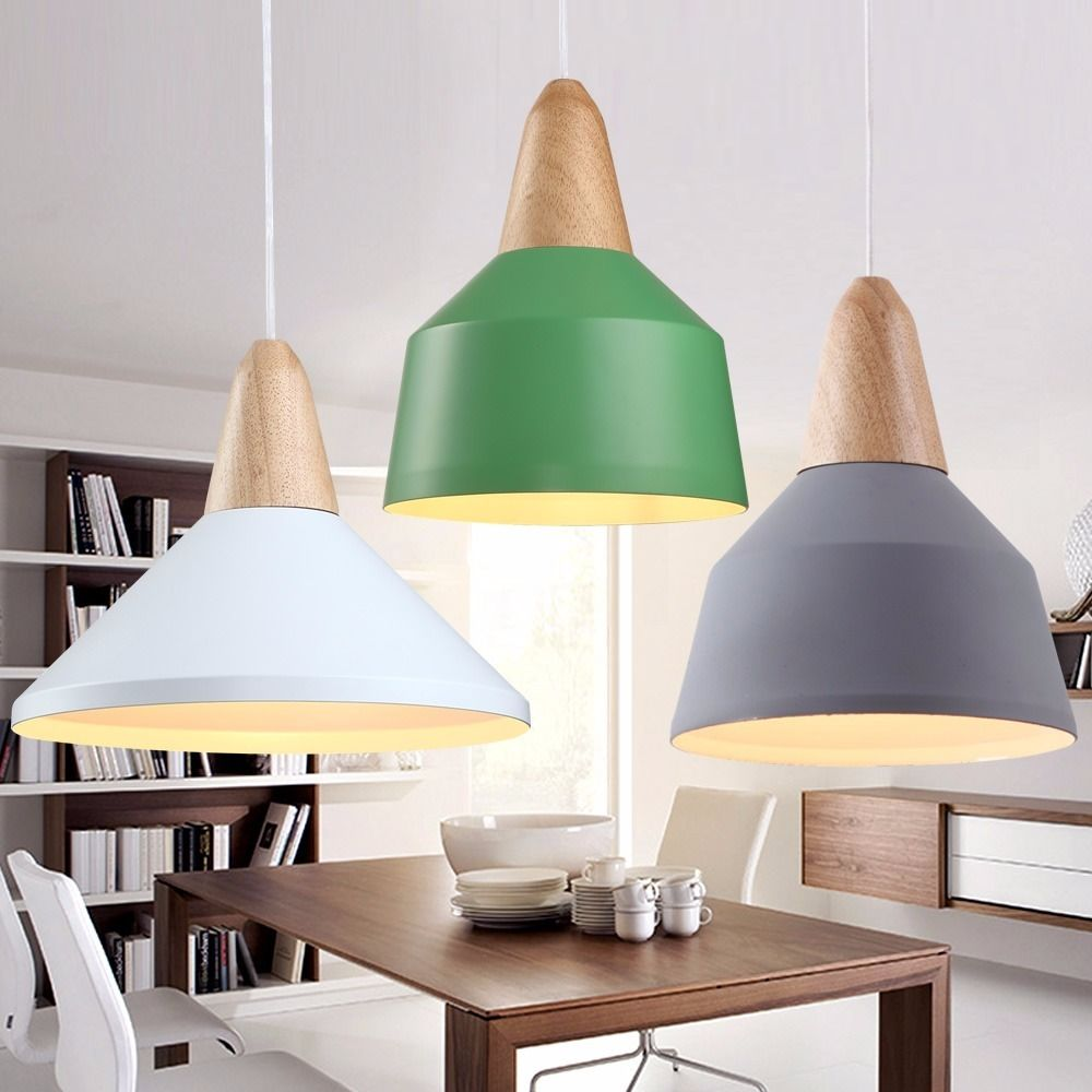 Beau Colorful Pendant Light Shades For Modern Dining Room With Wide Table And  White Chairs