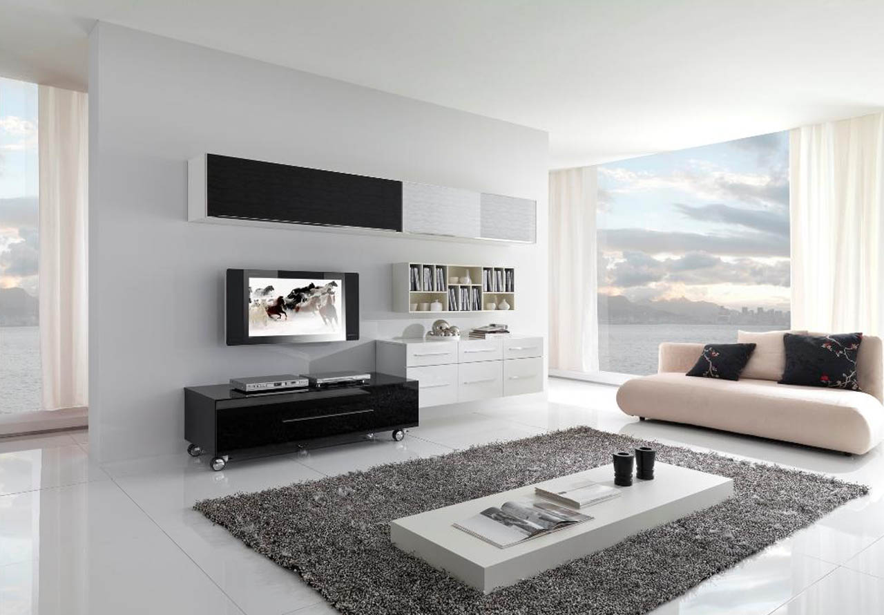 Combine Black And White Cabinets For Modern Contemporary Living Room With  White Tile Flooring