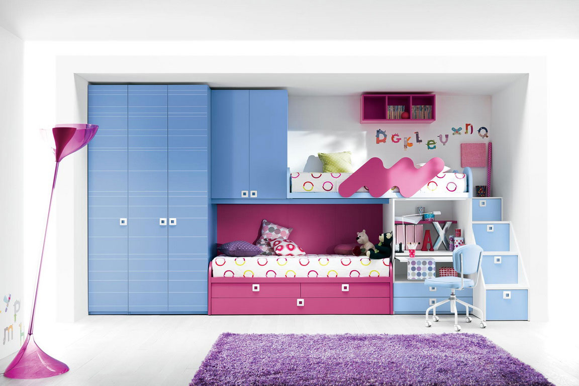Combine Blue Wardrobe Cabinets and Appealing Bunk Beds for Cute Room Ideas with Purple Carpet