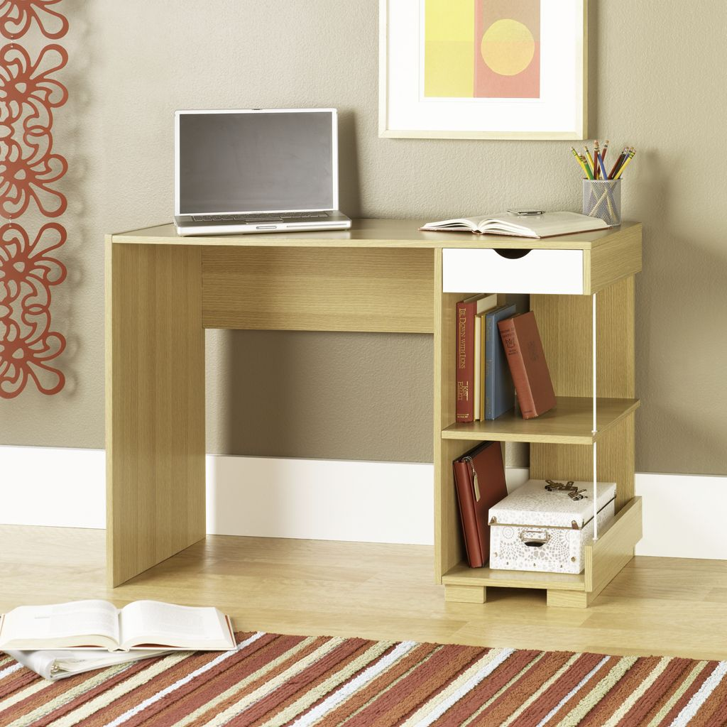 Combine Bookshelves and Small Wooden Office Desk on Laminate Oak Floorng in Open Home Office