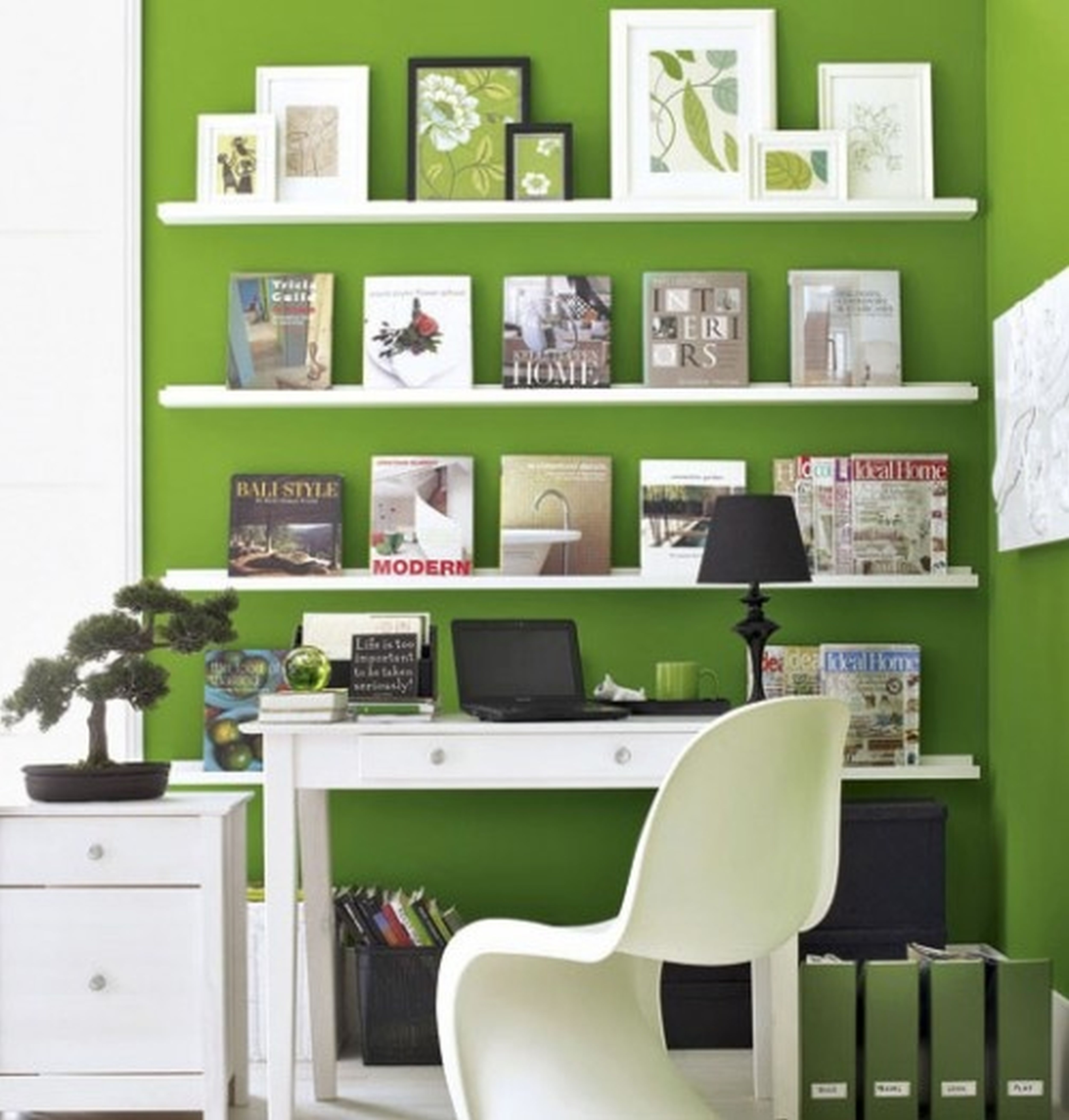 Combine Green Wall and White Wall Shelves for Open Office Decor Ideas with Black Table Lamp