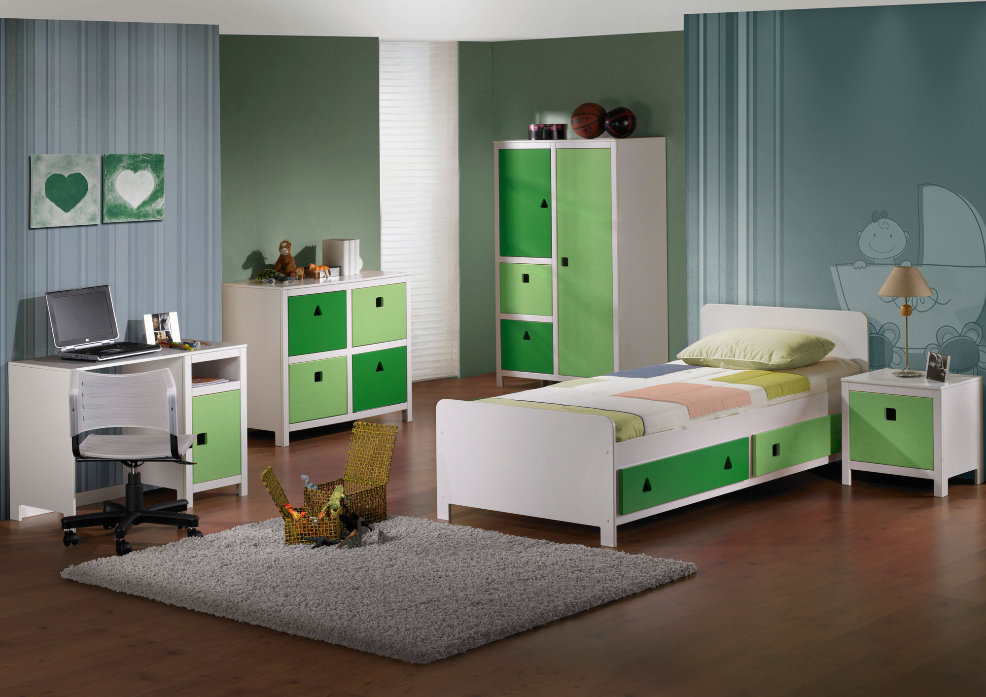 Combine Green and White Details in Boys Room Decor with White Computer Desk and Single Storage Bed