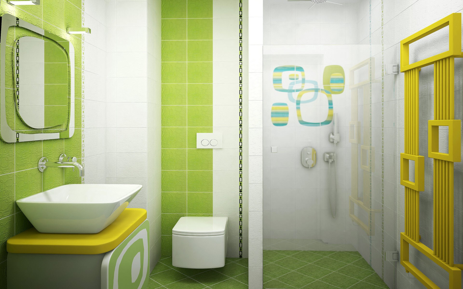 Ordinaire Combine Green And White Tile Wall For Wonderful Room Using Appealing Kids  Bathroom Sets
