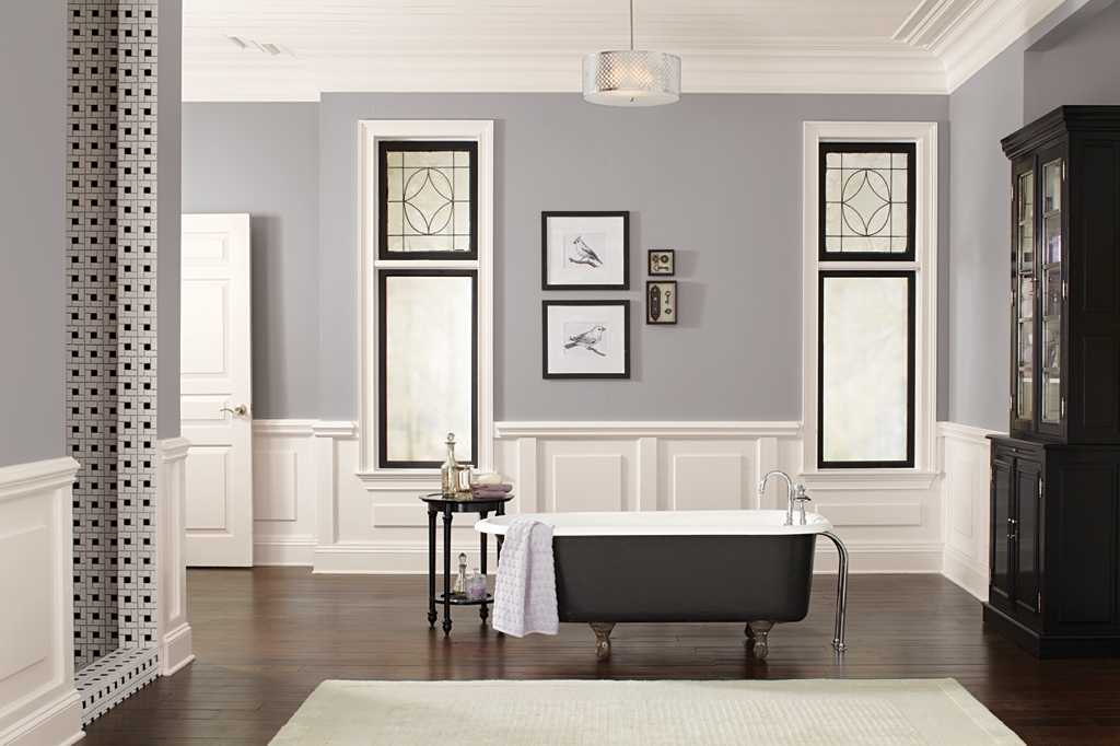 Combine Grey and White Interior Paint Colors for Enchanting Bathroom with Grey Bathtub and Dark Solid Cabinet