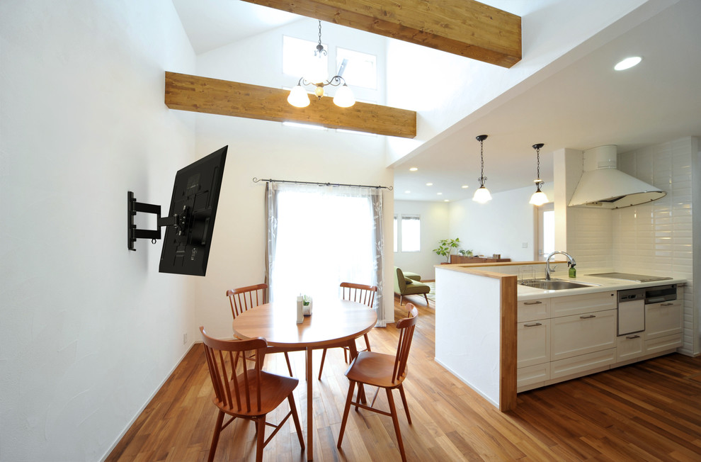Combine Kitchen and Dining Room with Tidy Wall Mounted Shelves and Bright Ceiling Lamps
