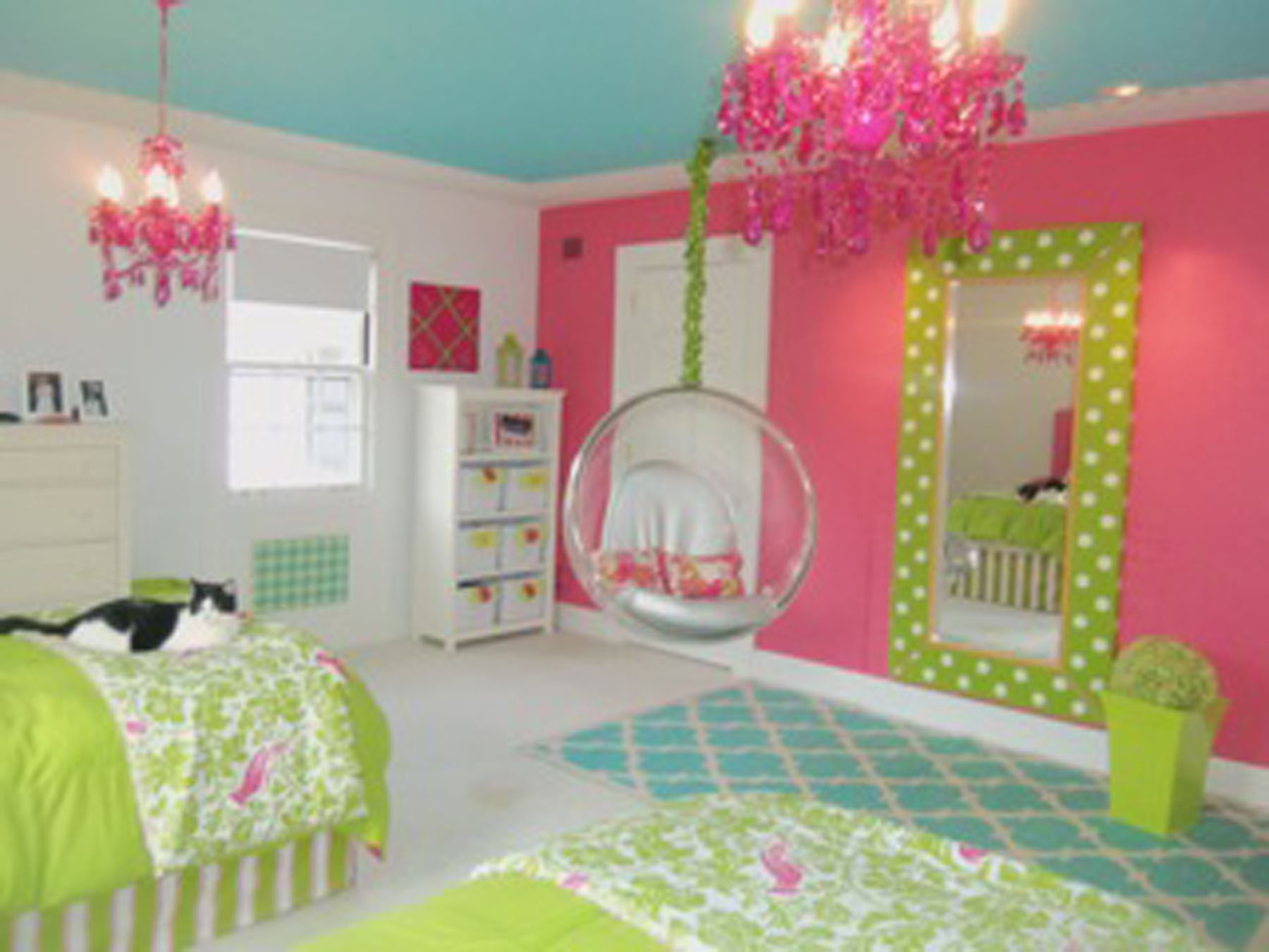 Combine Pink Painted Wall and Blue Ceiling for Cute Room Ideas for Teens with Hanging Bubble Chair