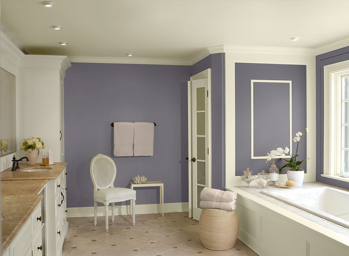 Combine Purple and White Paint for Lovely Bathroom Paint Ideas in Traditional Room with White Chair and Cozy Bathtub
