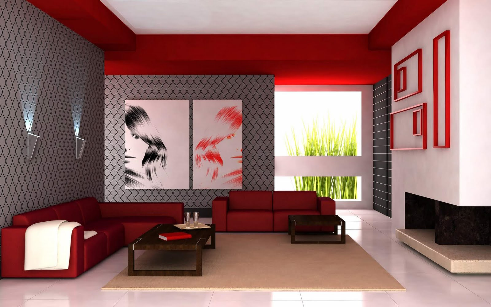 combine red and grey living room color schemes with red sectional sofas and oak coffee table - Interior Design Living Room Color Scheme
