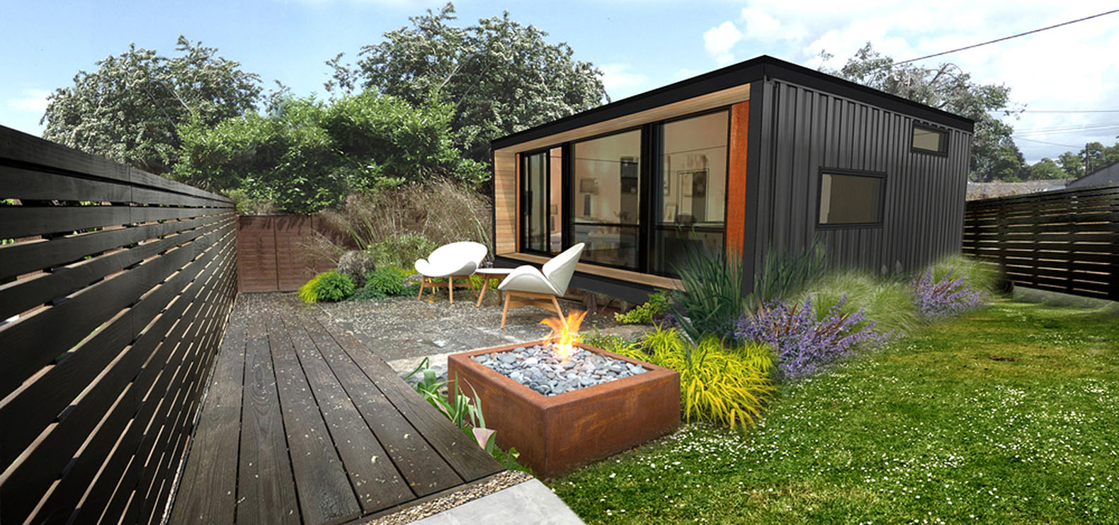 Combine Small Prefab Homes from Used Container with Minimalist Patio using White Chairs and Side Table