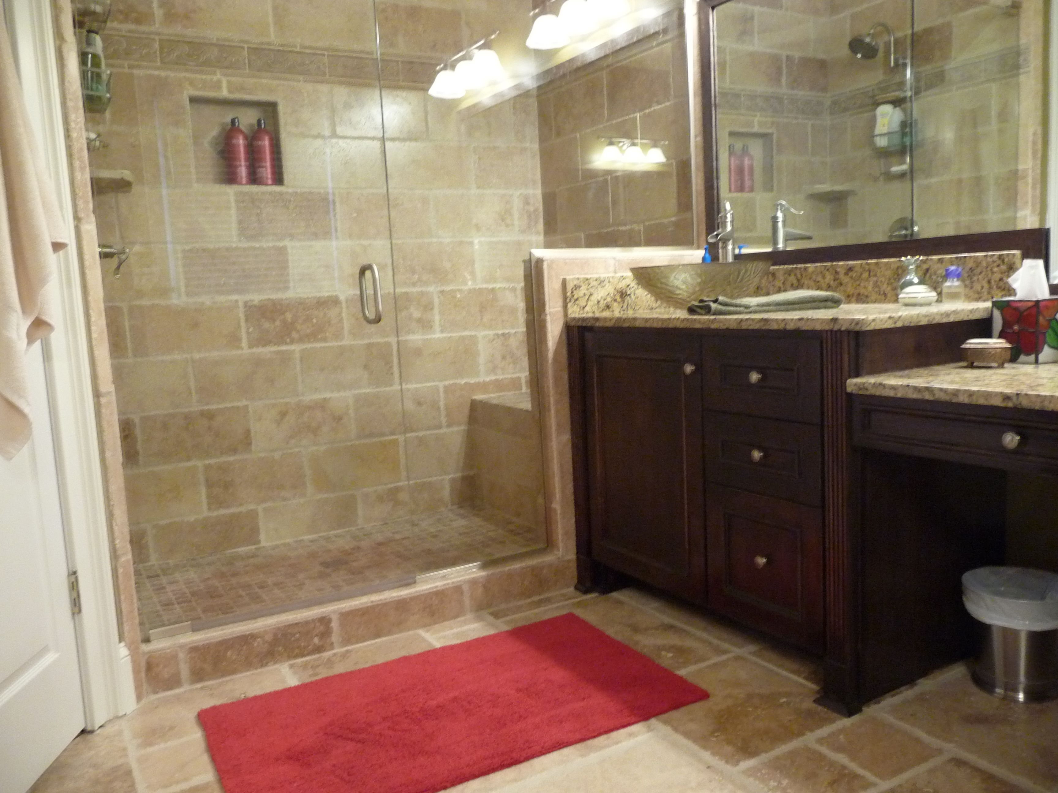 combine stone tile wall and flooring with teak vanity inside small bathroom remodel ideas - Stone Tile Bathroom 2016