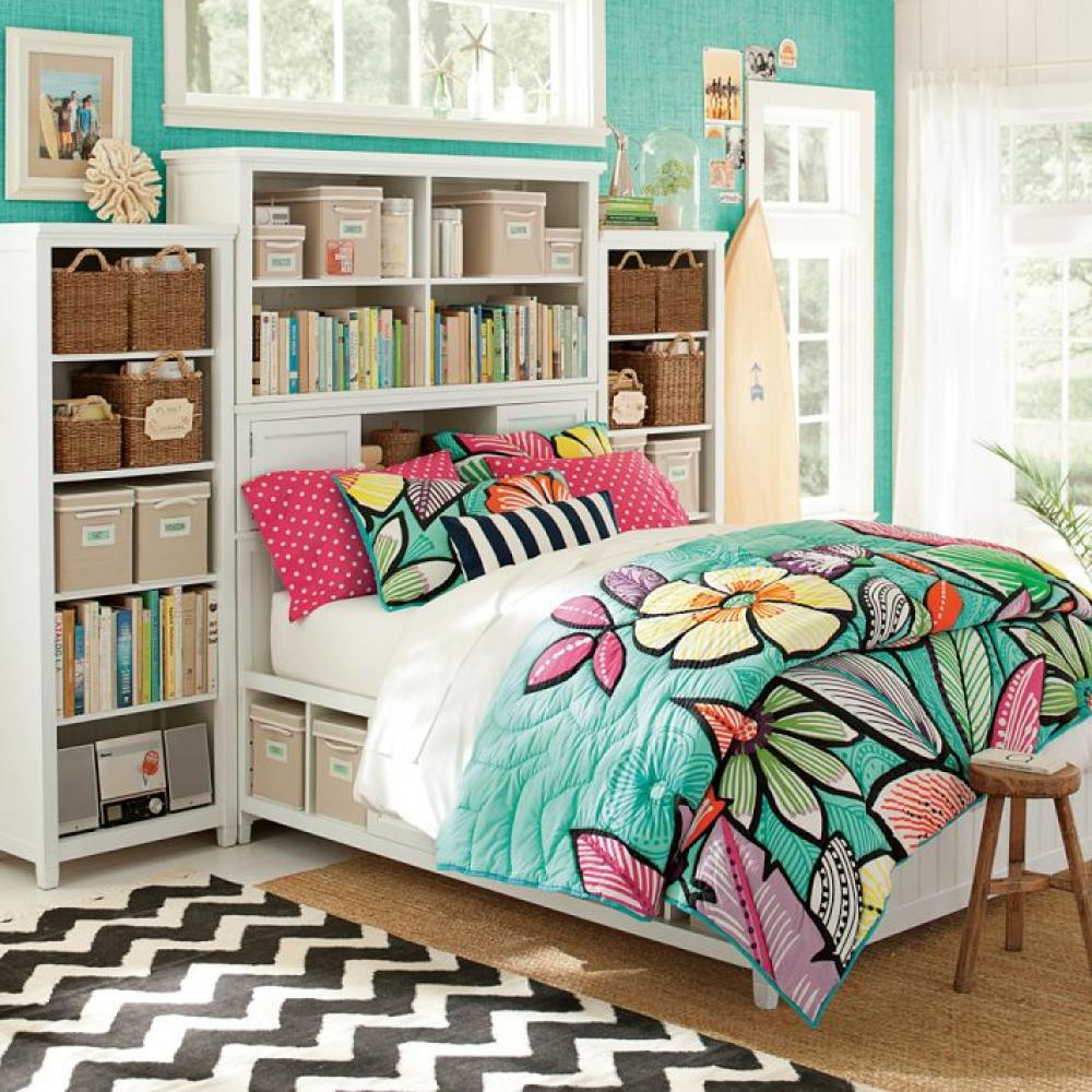 Combine White Bookshelves and Storage Bed for Teen Bedroom Furniture on Cream Carpet near Glass Windows