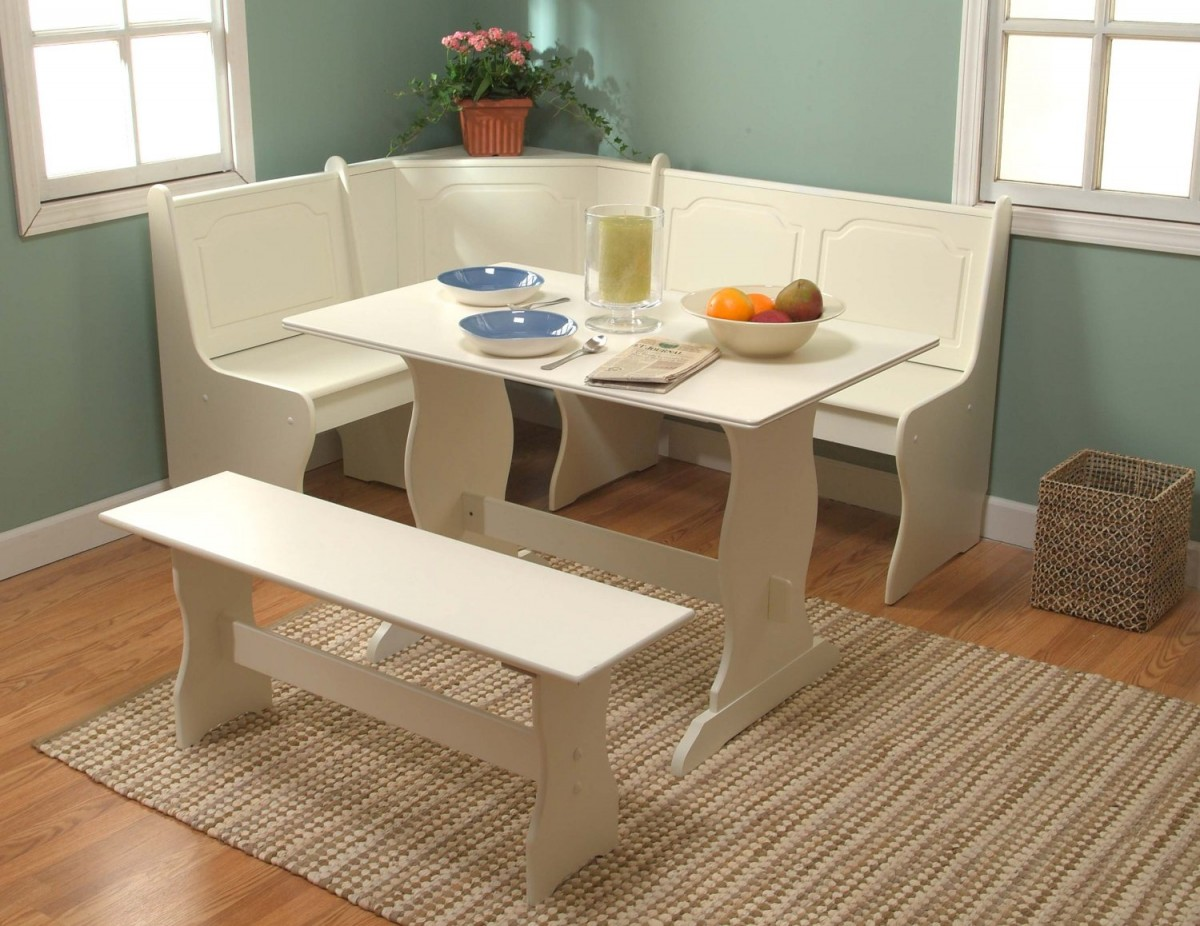 Combine White Corner Bench and Table as Classic Furniture for Small Breakfast Nook Spaces