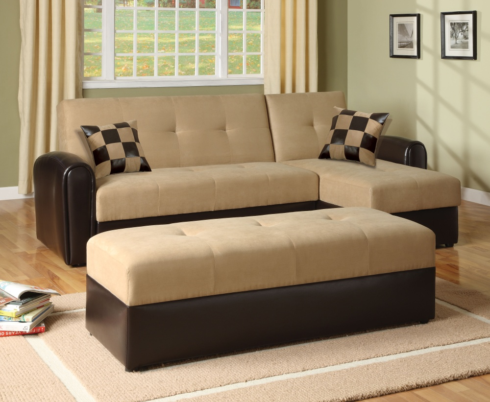 Comely Furniture with Cozy Brown Sofa on Sleeky Large Paarquet