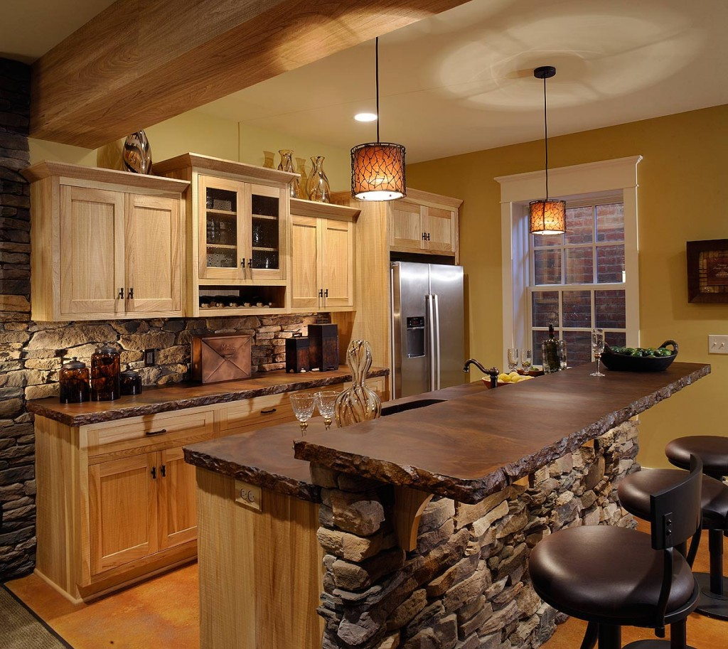 Comely Natural Stone Backsplash and Top For Black Kitchen Island