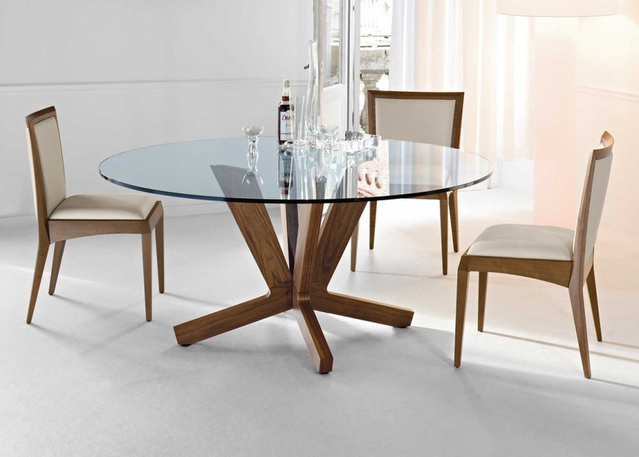 Walnut Finish Glass Top Dining Table Dining Glass Table Top Trovi ...
