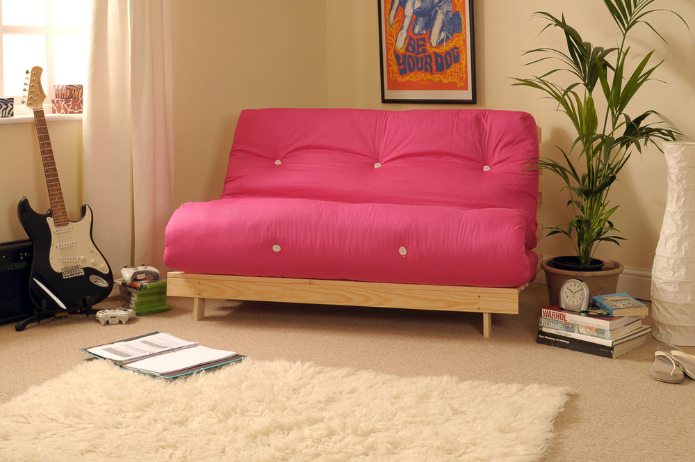 Complete Awesome Living Room with Pink Sofa Bed Mattress and Cream Carpet Rug on Carpet Flooring