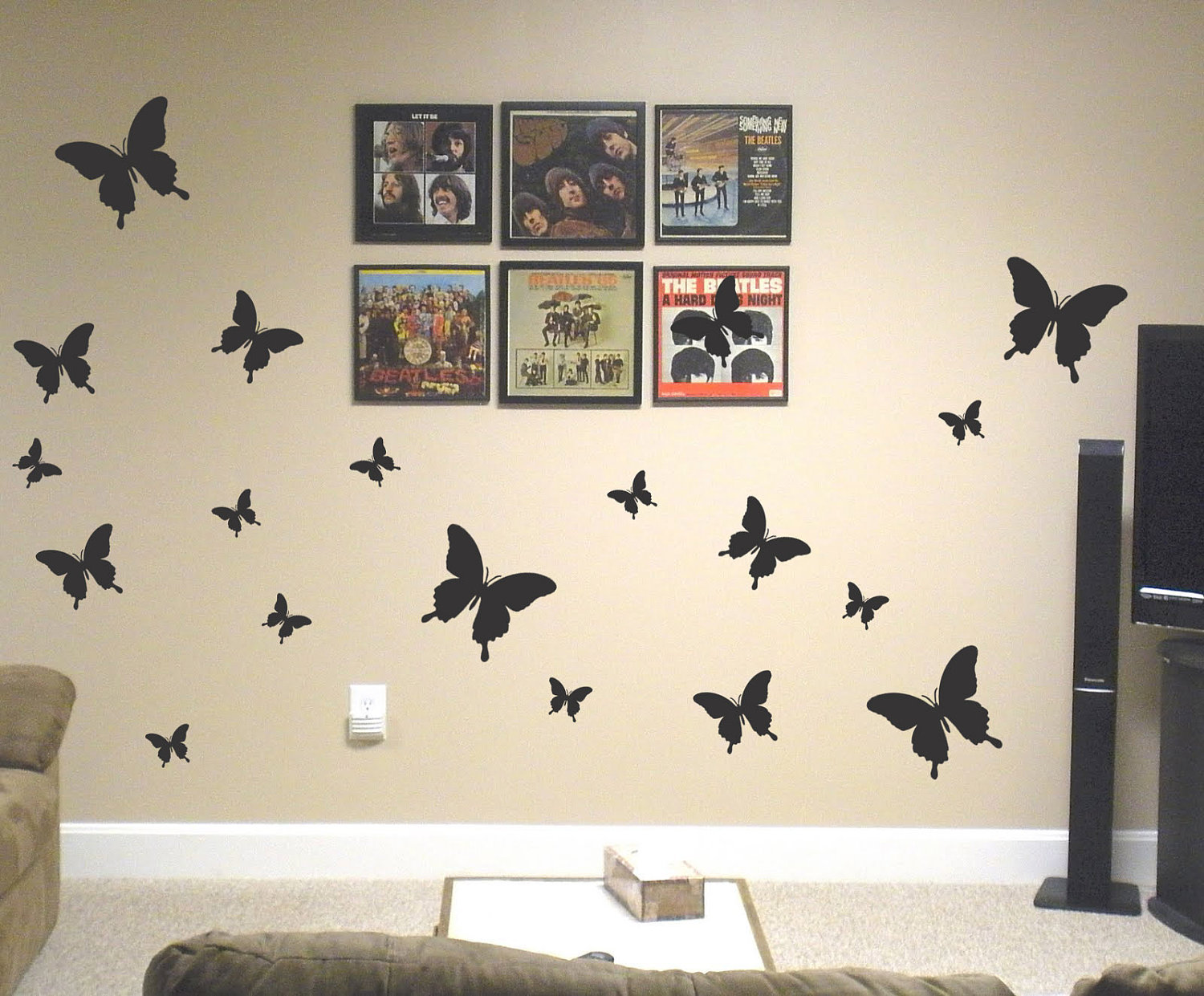 Complete Awesome Media Room With Black Butterfly Wall Art Ideas Near Fluffy  Sofas On Grey Flooring