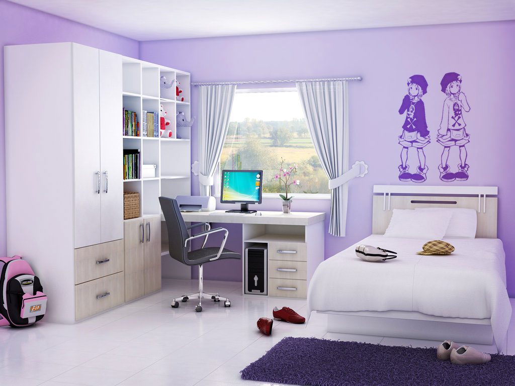 Complete Awesome Room Ideas for Teens with Cute Wall Mural and Computer Desk near Purple Carpet Rug