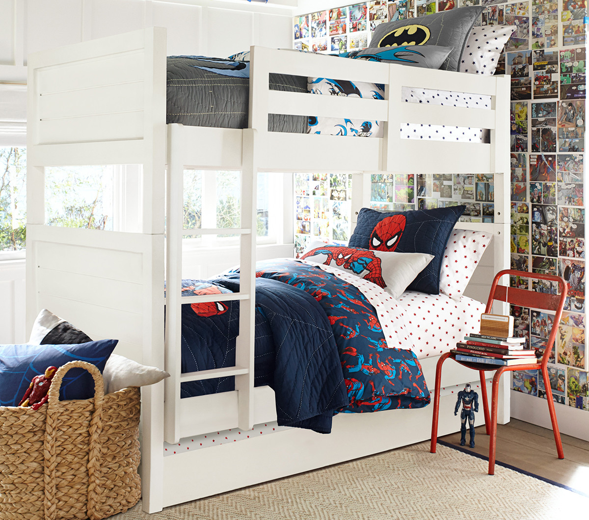 Complete Boy Kid Bedroom With White Boys Bunk Beds And Superheroes Themed  Bedding Beside Comic Decal