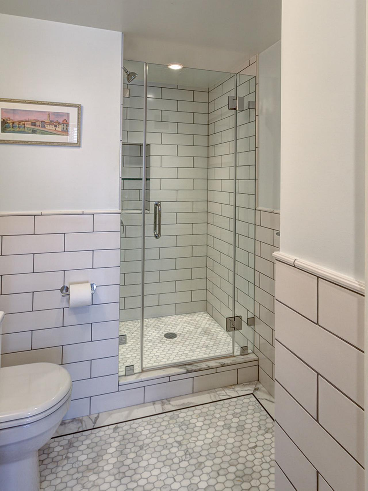 Complete Classic Bathroom with Closed Shower Space with Subway Tile Shower and Clear Glass Door