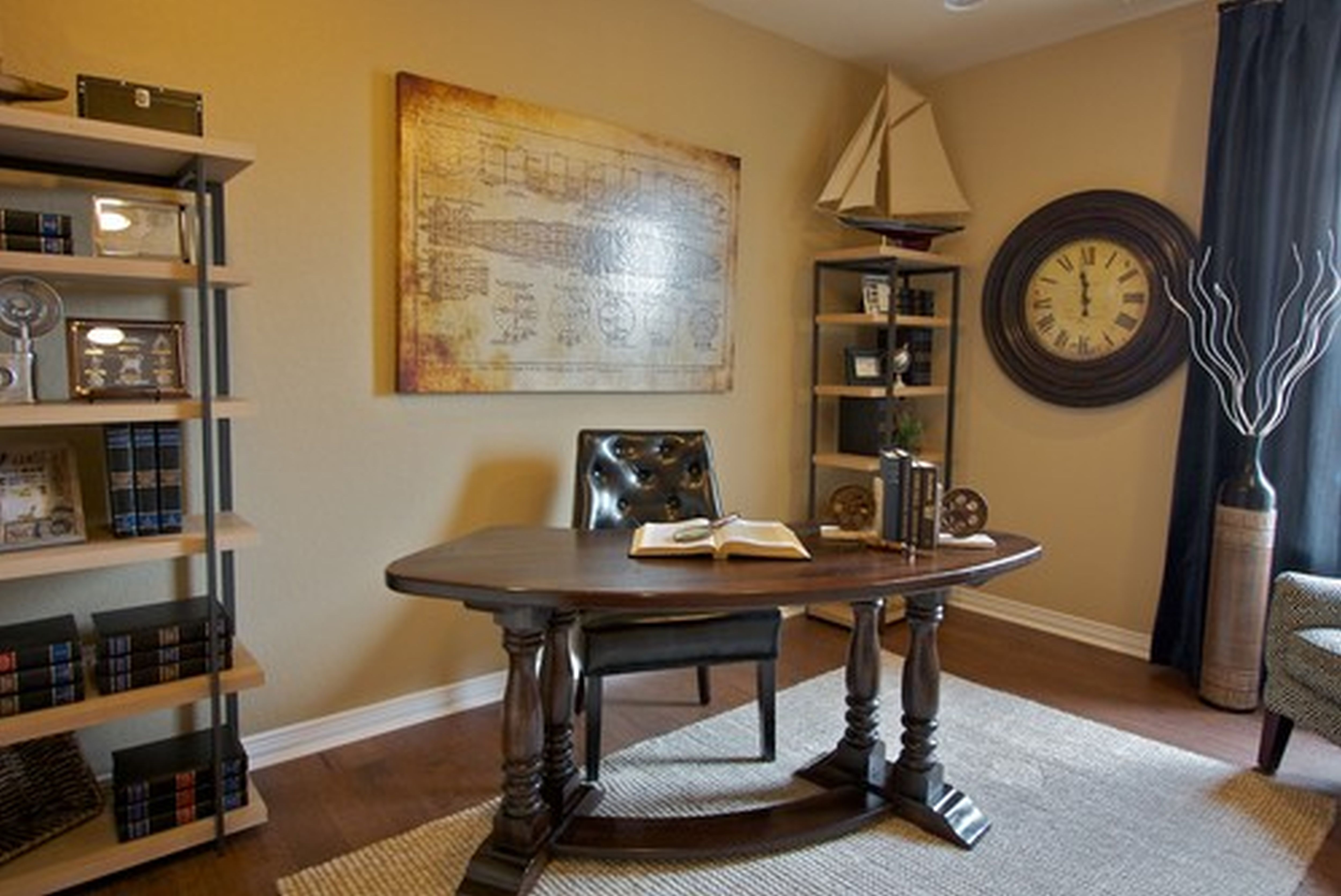 Complete Classic Office Decor Ideas with Curve Oak Table and Tufted Leather Chair on Grey Carpet