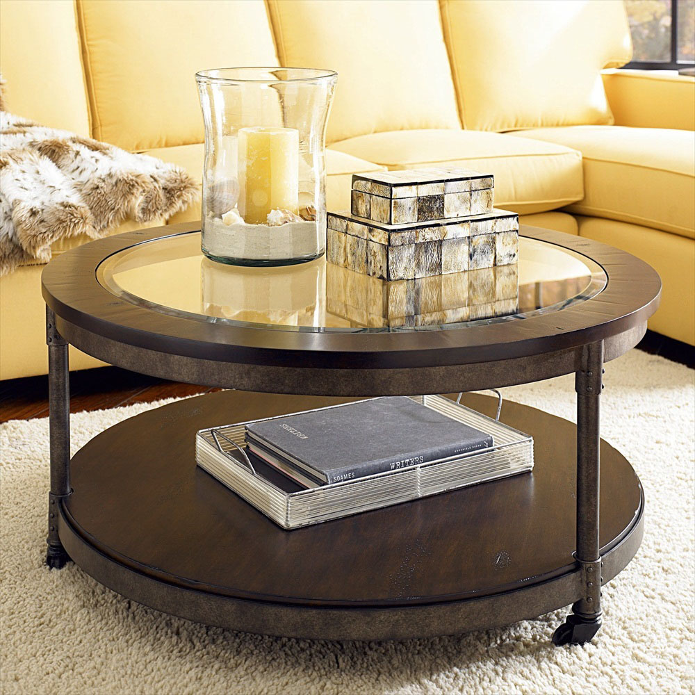 Various ideas of the round glass coffee table for your for Does a living room need a coffee table