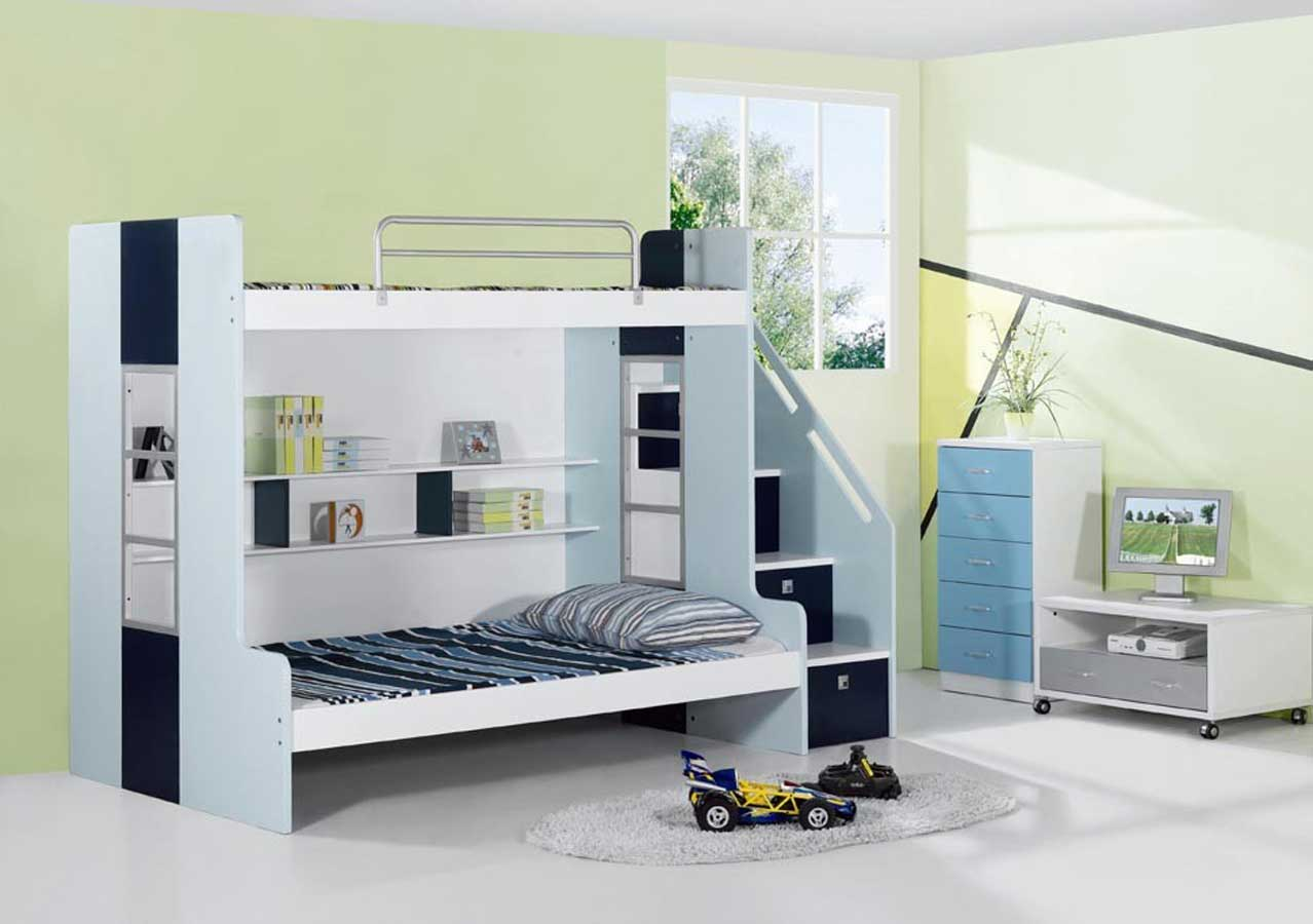Complete Cute Bedroom Ideas with White Bunk Beds and Low TV Cabinet on White Flooring
