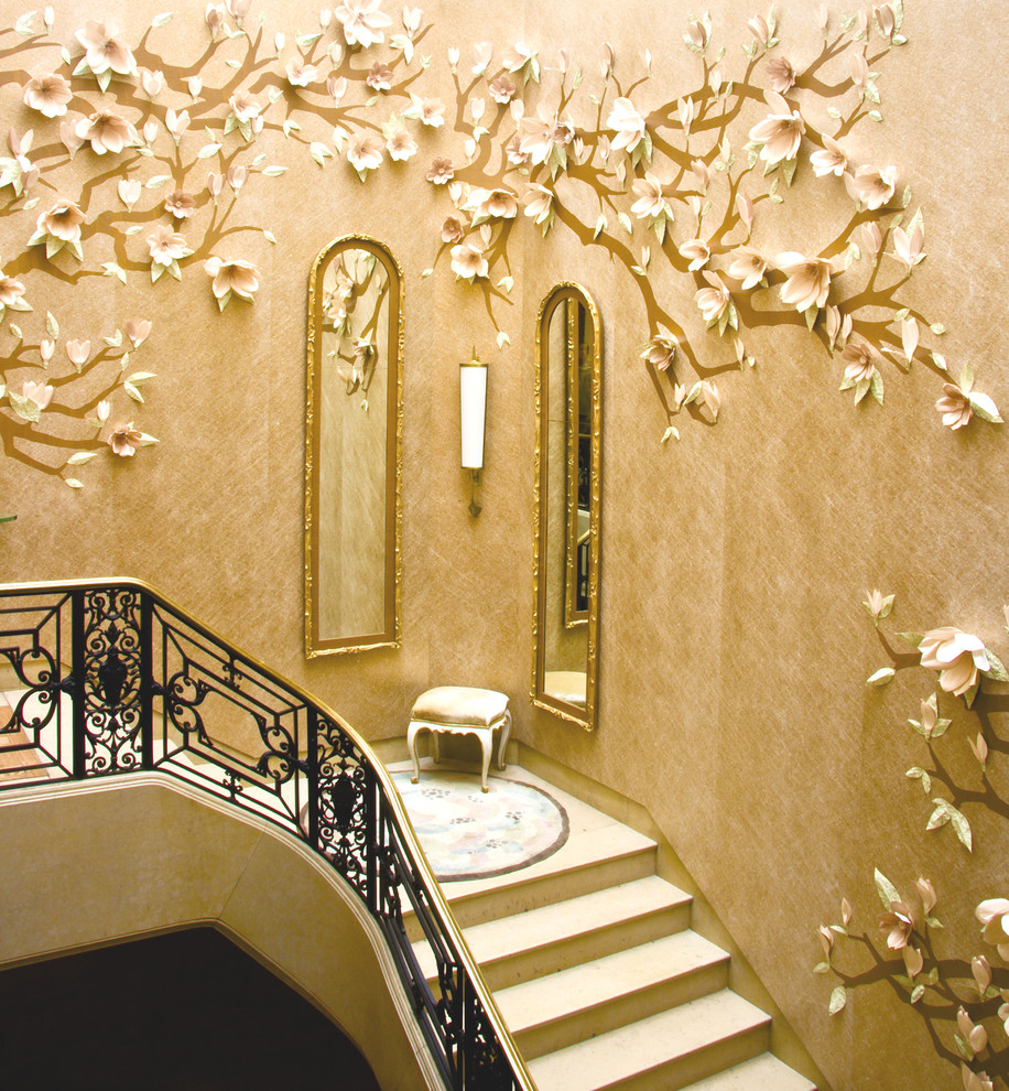 Complete Gorgeous Staircase Decorated with Stunning Tree Wall Decoration Ideas and Enchanting Framed Wall Mirrors