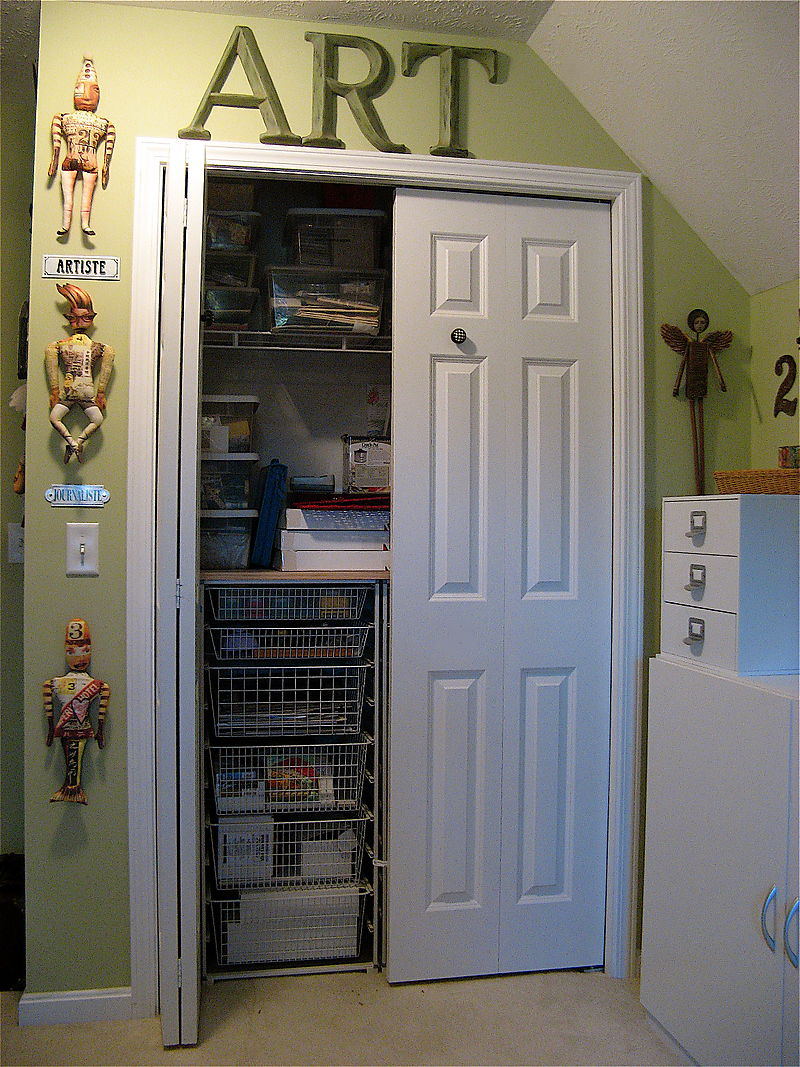 complete kid bedroom with small closet ideas using white door and metal drawers on cream flooring - Small Closet Design Ideas