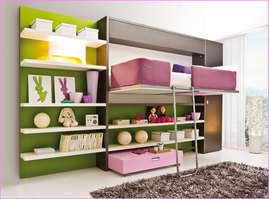 Complete Lovely Girls Room Decor with Loft Bed and White Shelves above Pink Drawer