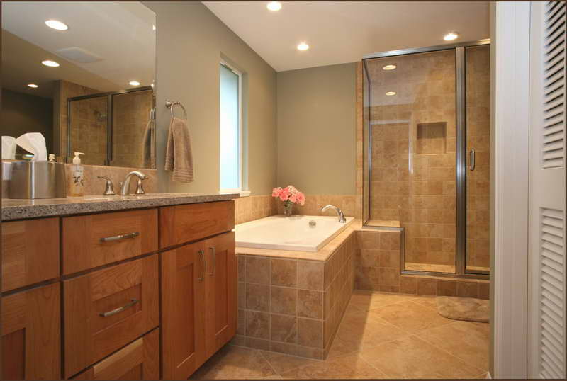 Complete Master Bathroom Ideas With Oak Vanity And White Bathtub Near  Closed Shower Area