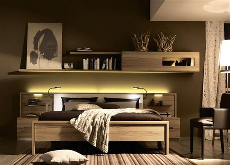Complete Minimalist Bedroom with Wide Oak Bed and Nightstands under Long Wall Mounted Shelves