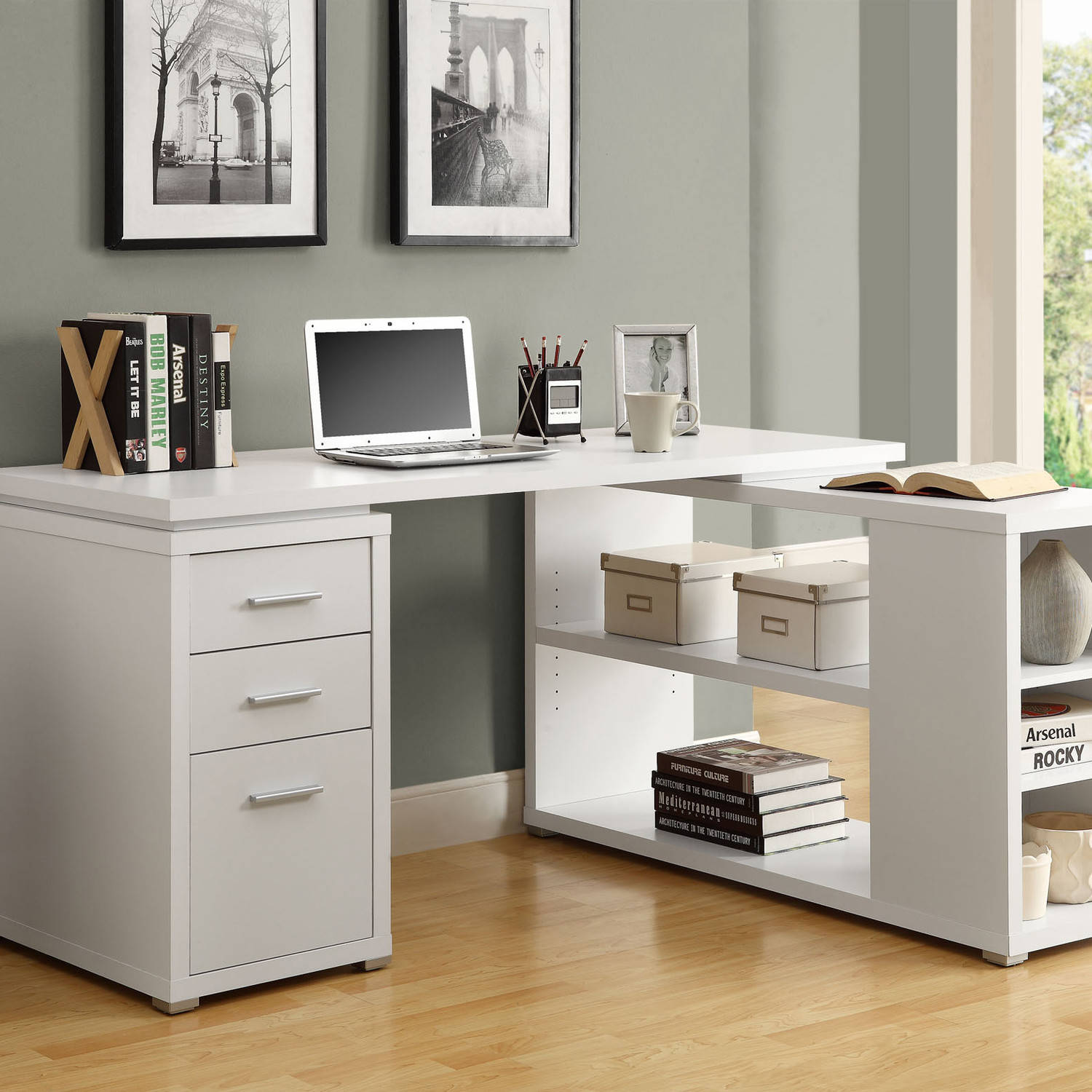 Merveilleux Complete Minimalist Home Office Using White Desk With Drawers And Shelves  On Laminate Teak Flooring
