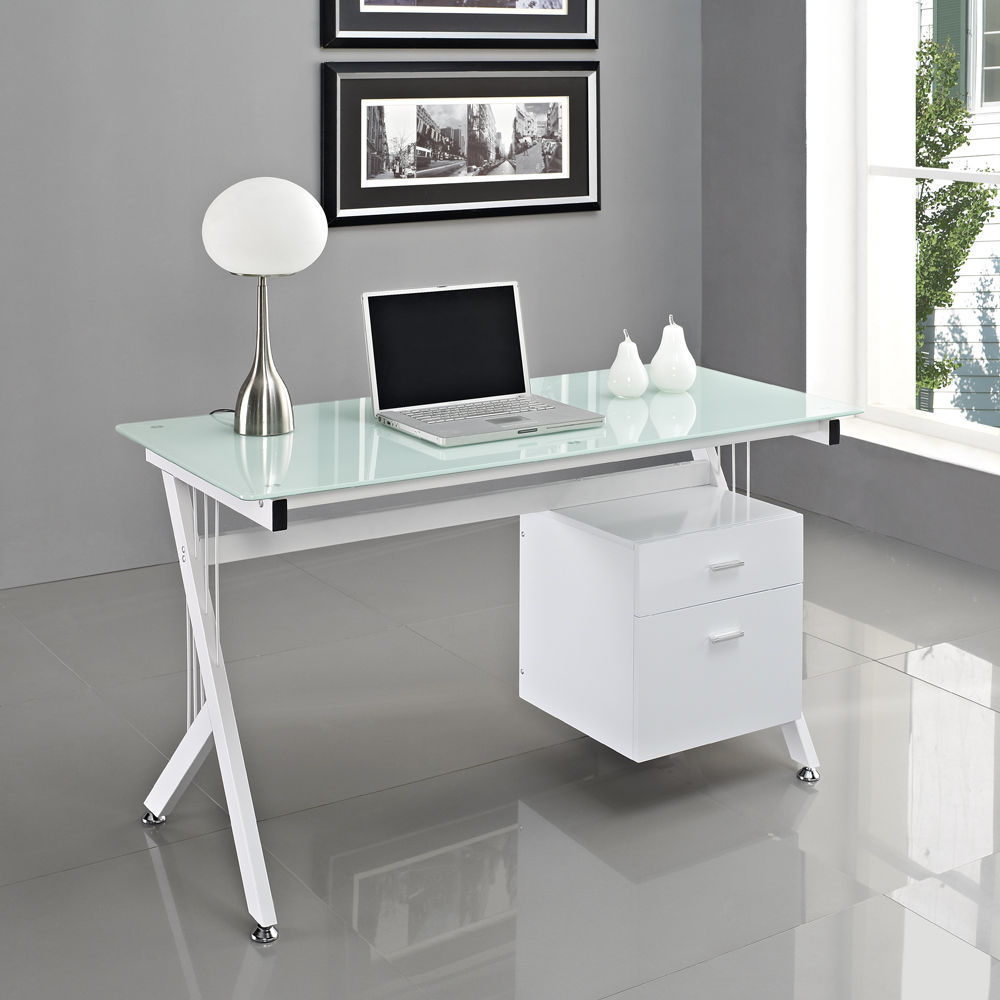 Complete Modern Computer Desk With White Document Cabinet And Stylish Table  Lamp In Home Office. Dealing With The Shape