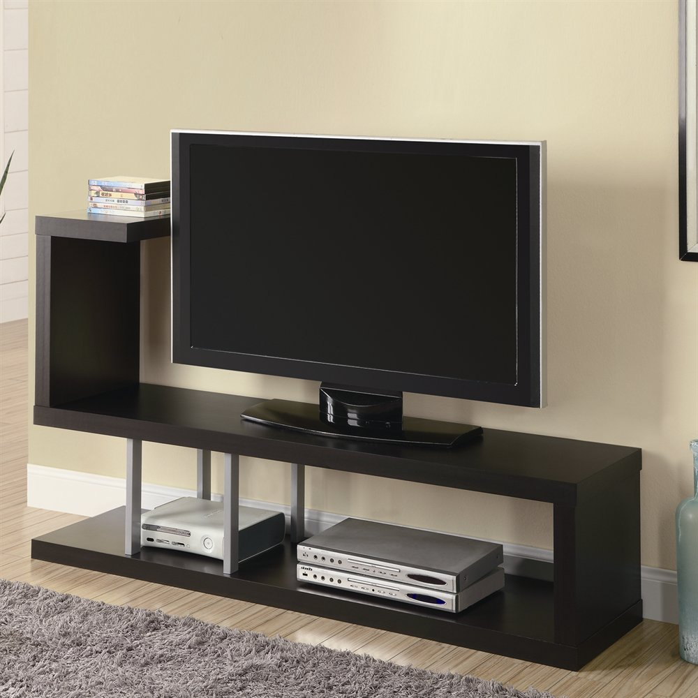 Bon Complete Modern Sitting Room With Dark Wall Mount TV Stand And Grey Carpet  Rug On Oak