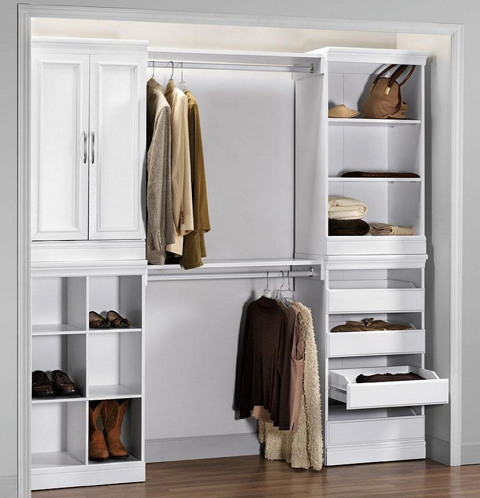 Complete Old Fashioned Closet Organizer Ideas with White Drawers and Shoes Shelves on Laminate Flooring