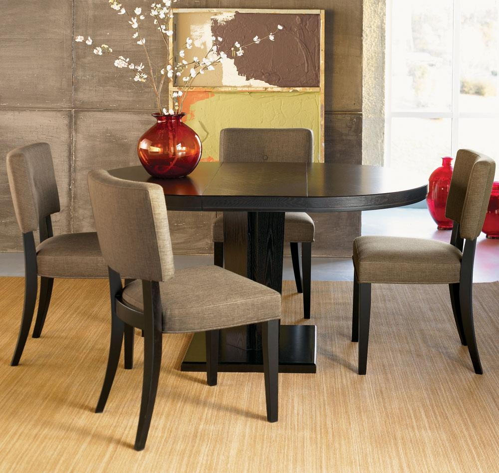 Beau Complete Open Dining Room With Round Small Dining Tables And Grey Lather  Chairs On Brown Carpet