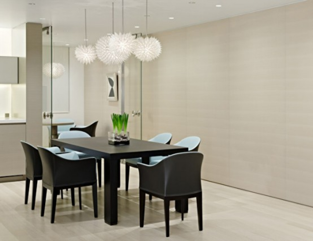Complete Open Room with Stunning Dining Room Wall Decor and Dark Dining Table under White Lamps