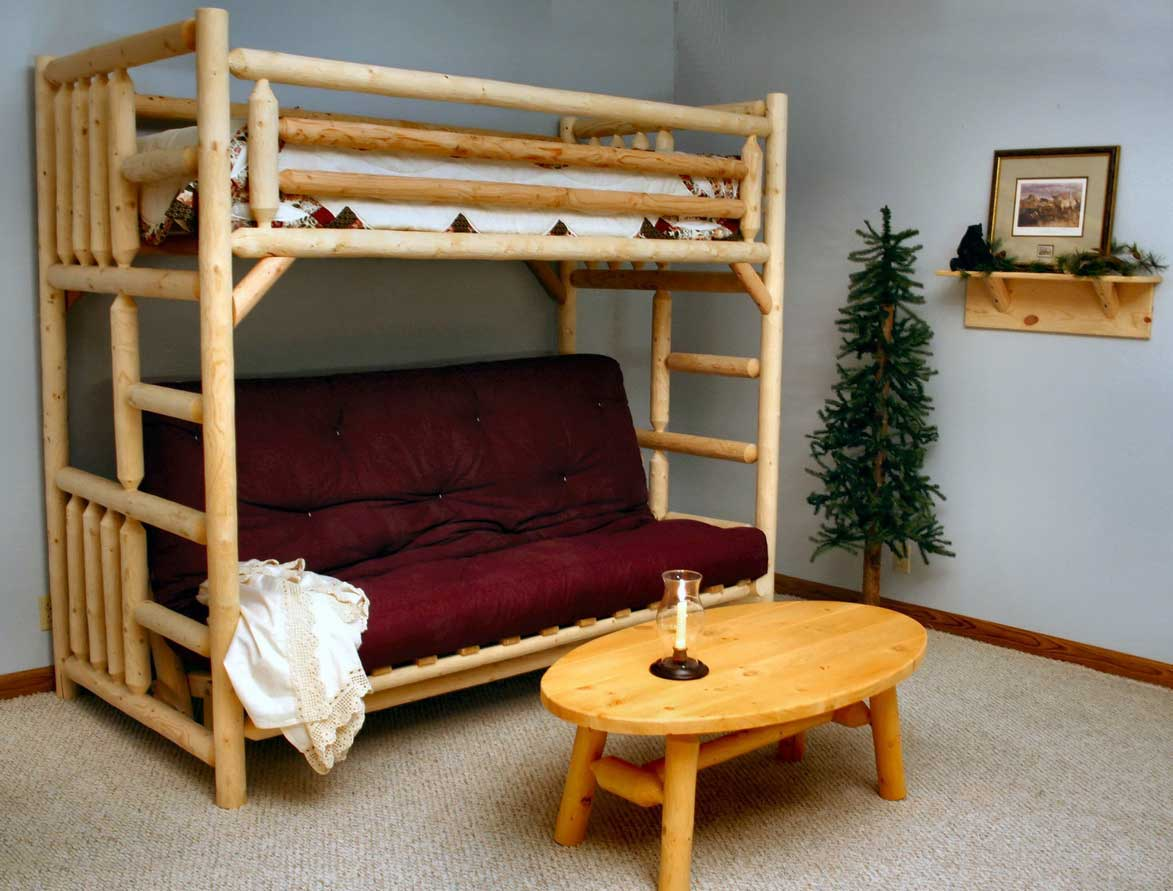 Complete Rustic Wooden Bunk Beds with tufted Lather Sofa facing Oak Table on Carpet Flooring